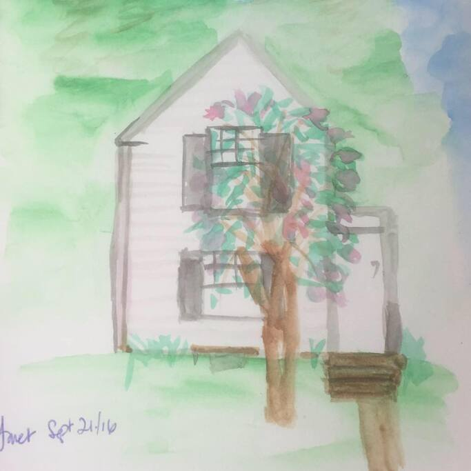 This sweet watercolor of the cottage was a gift from recent guests - thanks, Janet!