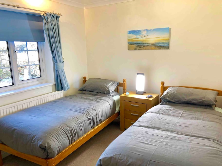 Luxury 2 single beds.  Double warm duvaes on both beds.