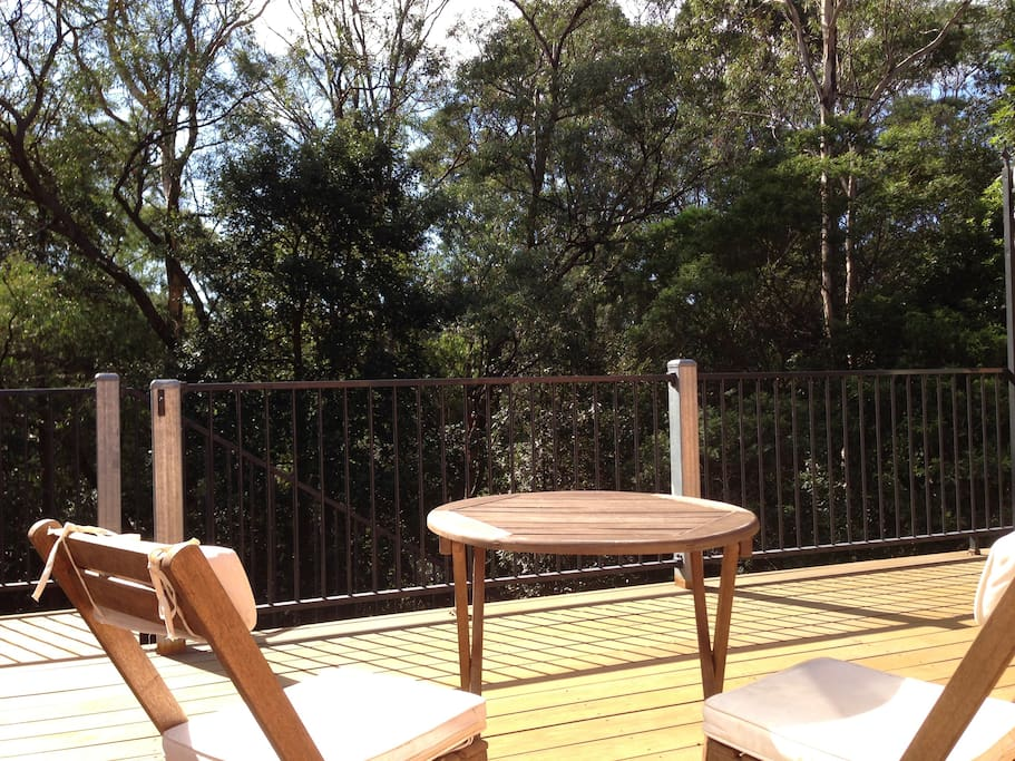 Large deck overlooking protected bushland - perfect for breakfast.