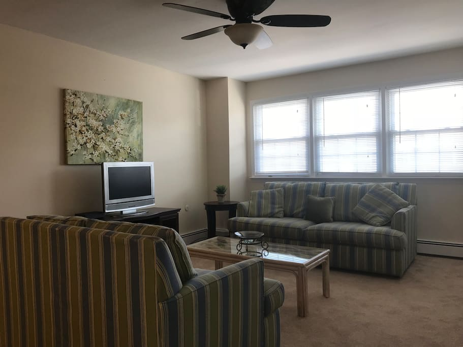 Living room with free WiFi and cable. Very clean. Perfect getaway spot