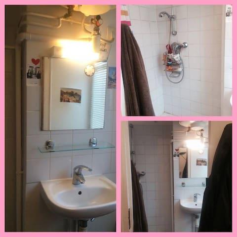 Salle de bain avec une douche et un lavabo