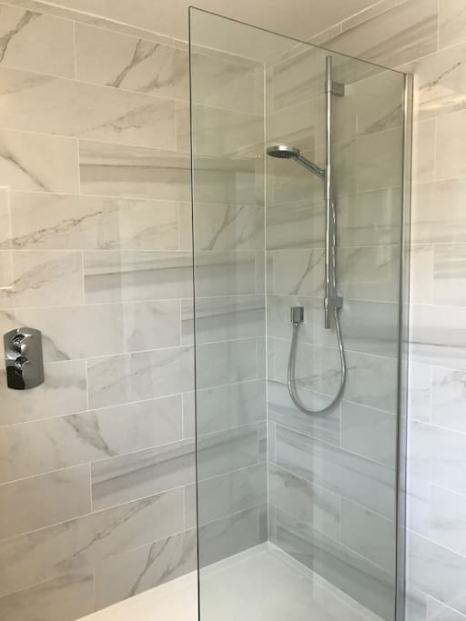 New luxury bathroom with walk in shower