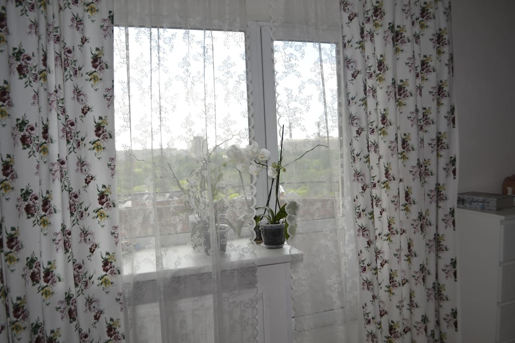 Вид из комнаты на балкон