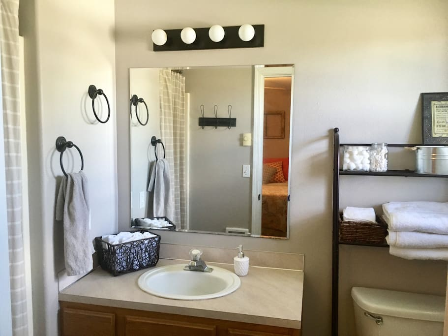 This bathroom is attached to the master bedroom.