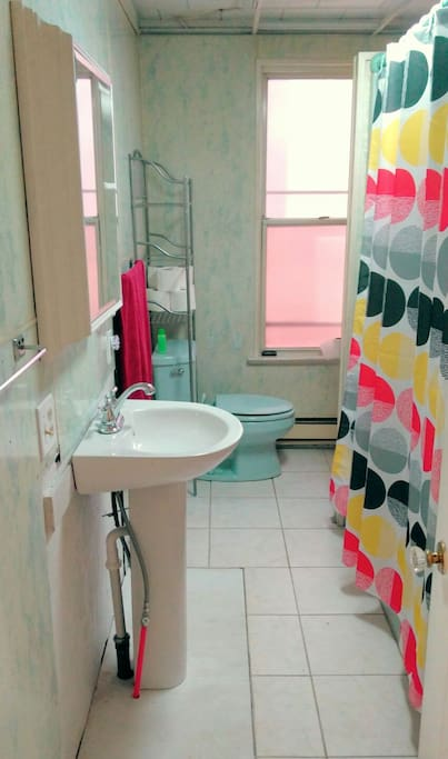Bathroom with shelf storage, towel racks, and medicine cabinet all available for guest use.