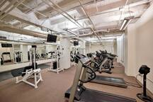 Fitness center with free weights and machines