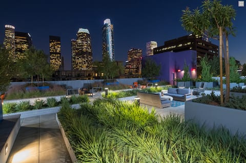 Downtown LA Luxury Apartment w/Rooftop + Free Park
