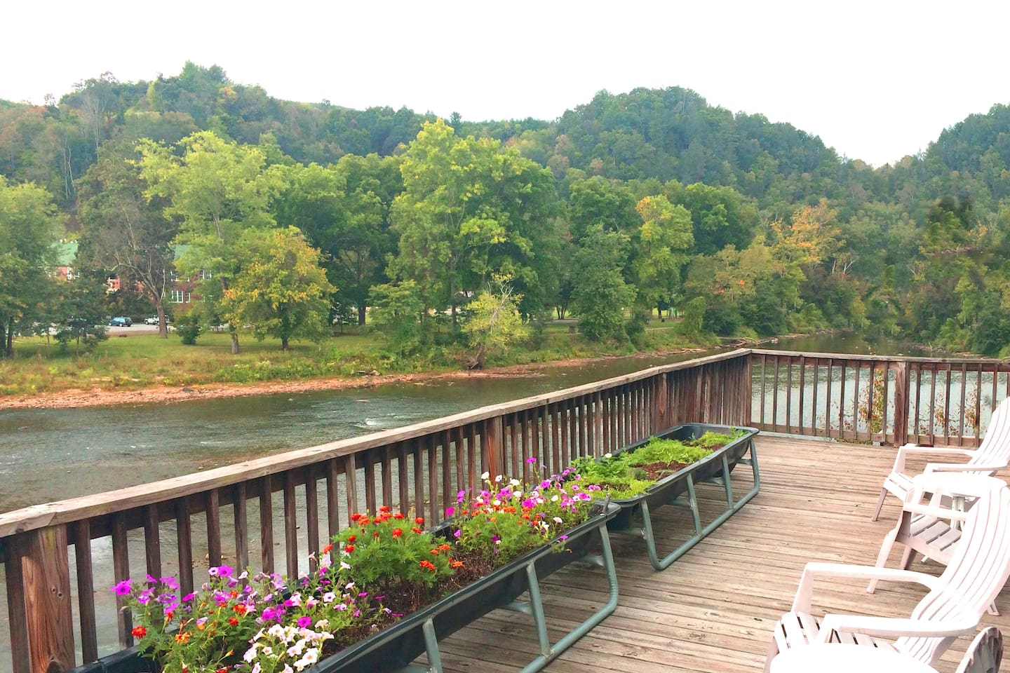 No better place for cocktails or coffee. One of three outdoor spaces, and the best river view deck in Marshall.