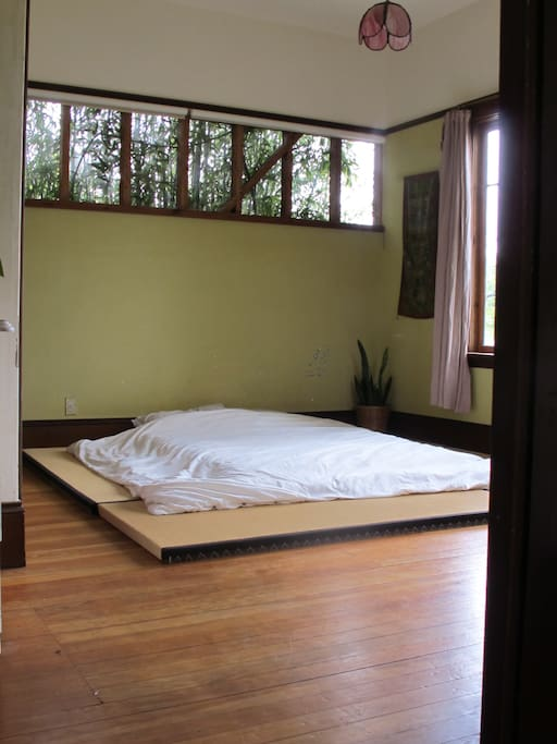 Front bedroom: natural latex on tatami, room for additional futon to sleep more kids.  Organic bedding.
