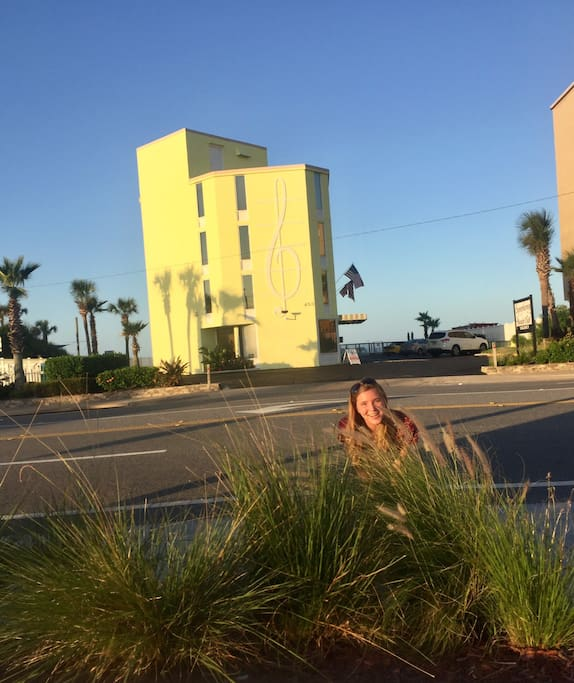 Small, quaint building directly on A1A . View from across A1A looking toward the beach. Named place after daughter (pix) when she was 3