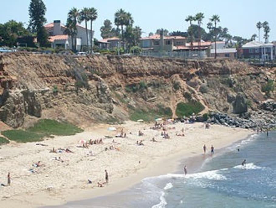 Within walking distance, a public beach at the base of the Sunset Cliffs