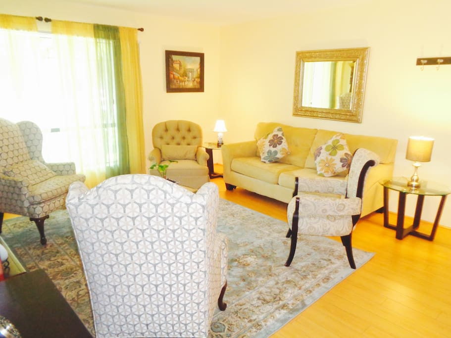 Spacious bright living room  with central AC!