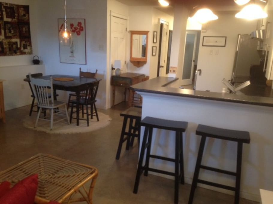 Full kitchenette in open area of main space
