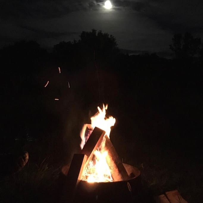 Summer bonfire and the spectacular moon at the treehouse fire pit, bring your s'mores fixin's! photo by one of my guests!