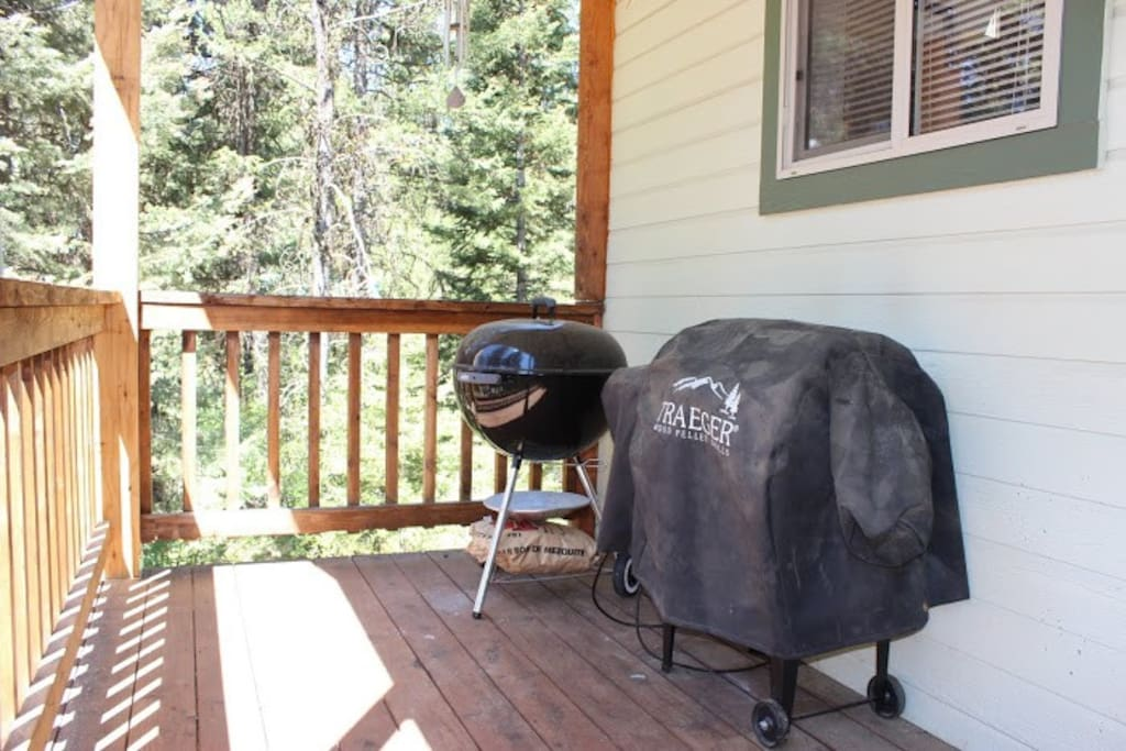 Charcoal Grill and Traeger Smoker