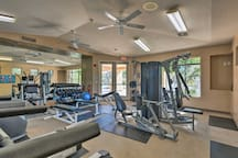 Work on cardio and strength training in this fully equipped fitness center.