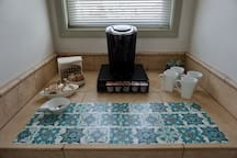 Coffee maker in the master suite