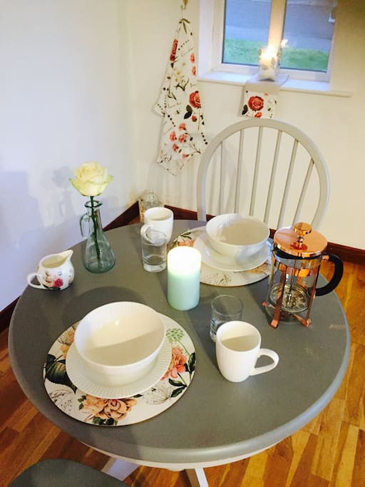 Continental breakfast basket provided as well as tea, coffee, fresh bread, milk, sugar. All the amenities to make your stay a home away from home experience.