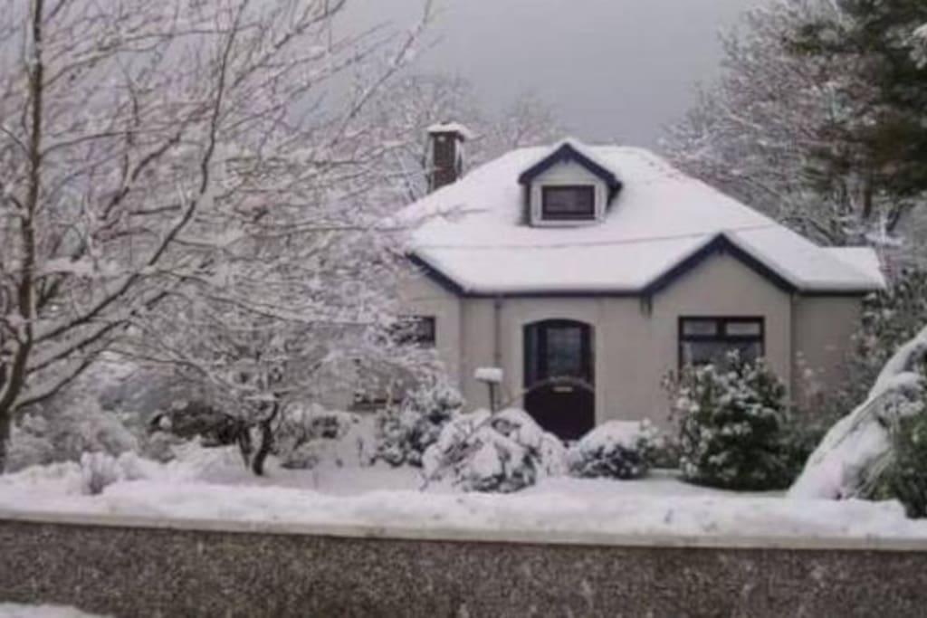 Front of the house after snowfall.