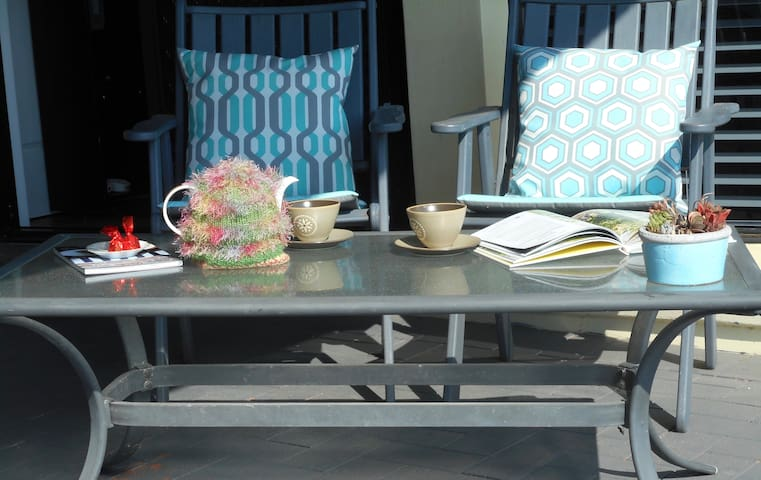 Relax on the sunny patio