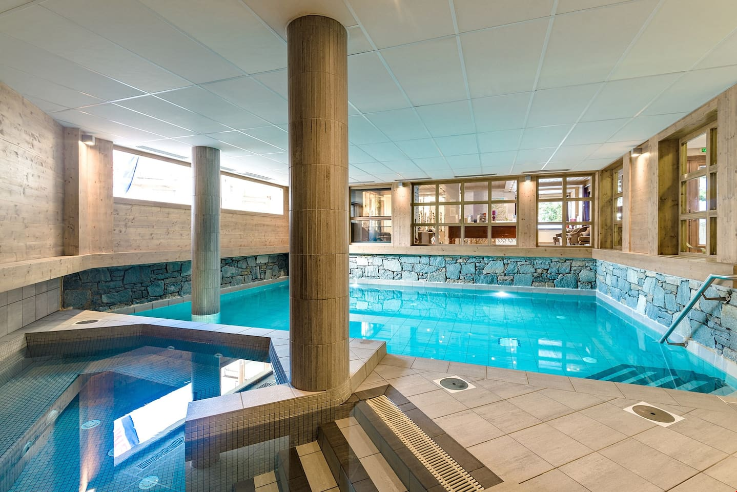 Dive into the lovely indoor pool after a great day!
