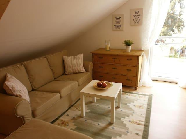 Schöne und ruhige single Dachwohnung im Grünen