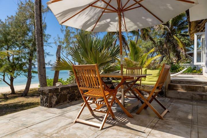 Beachfront villa on white beach in Pointe d'Esny