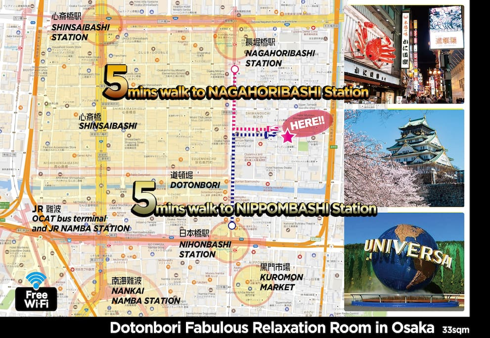 Fabulous Relaxation Room in Dotonbori debut for 3-4people very conveniently located // we can provide you by the original video from Nippombashi station and Nagahoribashi station how to go to the apartment. access is super easy. // 5min on your foot to Dotonbori, 8min to Kuromon Market.