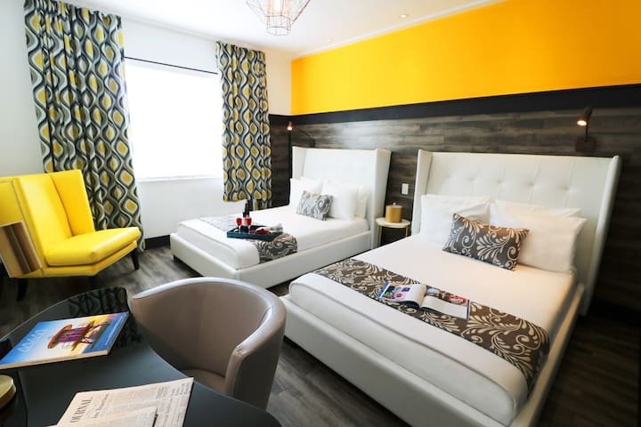 Stylish Room with Two Double Beds, Beach Across the Street, 2 Pools, 2 Restaurants, Rooftop Sundeck, Free WiFi