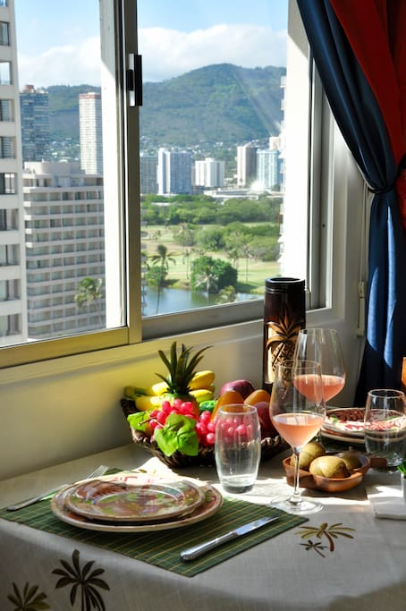 Dining with  beautiful mountain golf corse  and River view