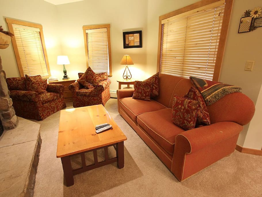 The living area features a sleeper sofa for additional sleeping arrangements.