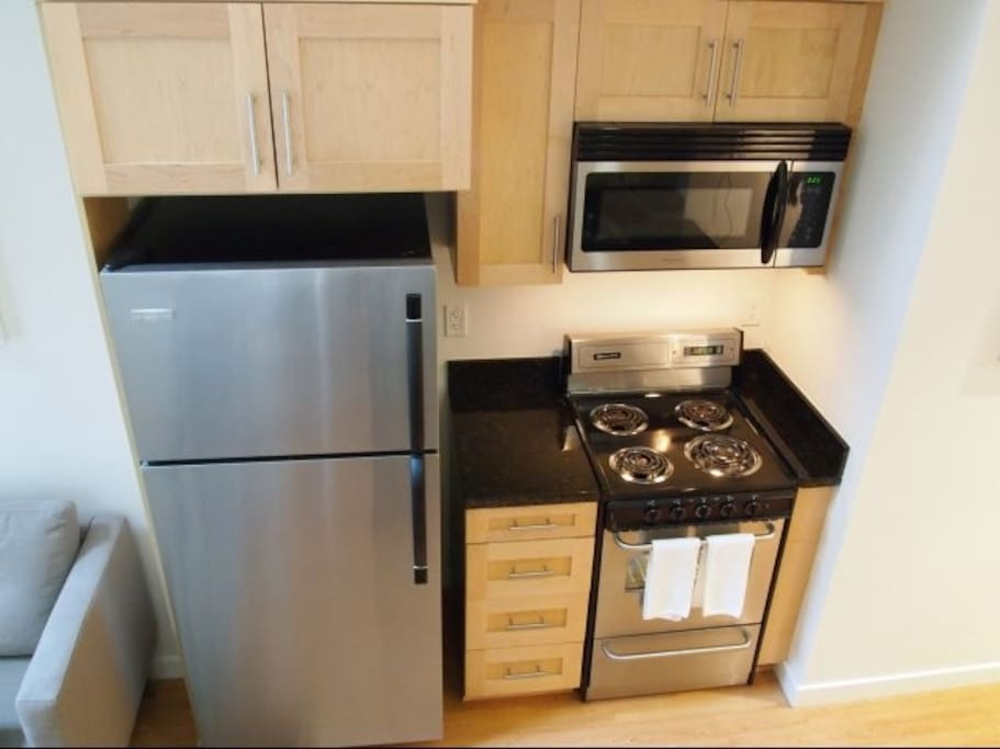 Electric oven, refrigerator with freezer and microwave