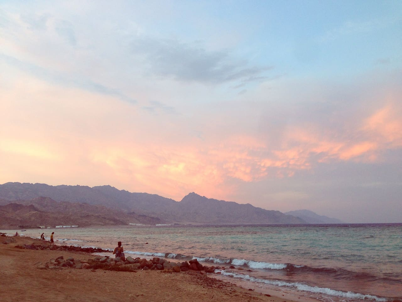 Talil Beach - Perfect for sunrise views :) (Sunset views over the mountains from my roof!)