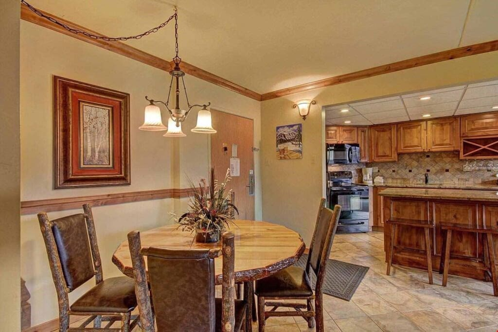 Dine or entertain at the dining table with seating.