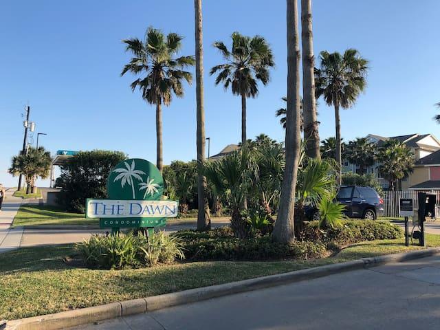 Luxury condo in Galveston with Gulf view.