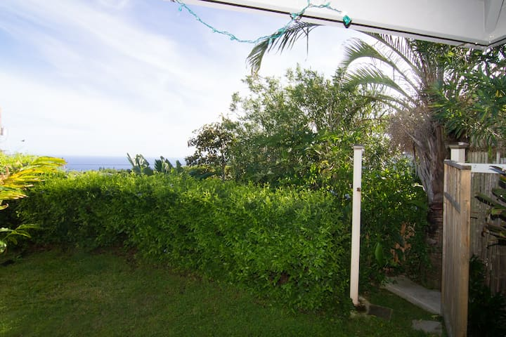 Small yard with ocean view and BBQ.