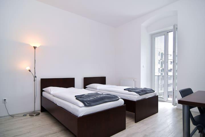 Beds, balcony