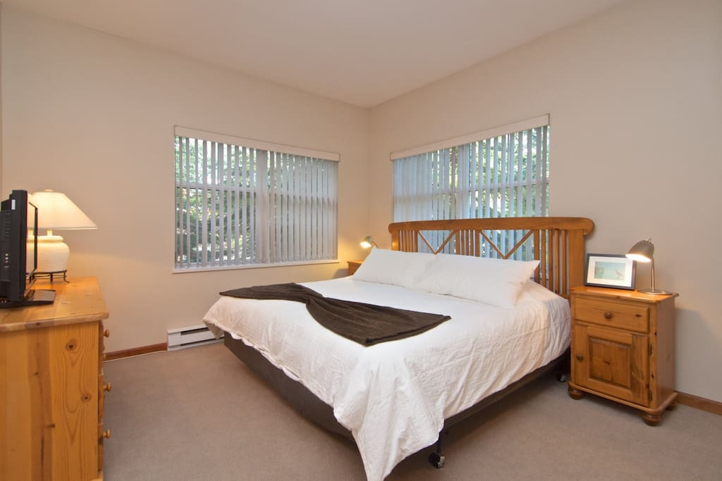 Master bedroom has KING bed, plenty of storage, full 3 piece ensuite and new TV