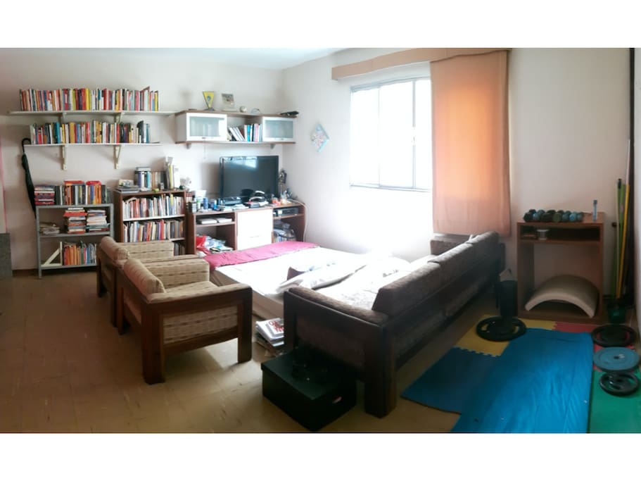 Living room = Books + Netflix + MiniGym ❤