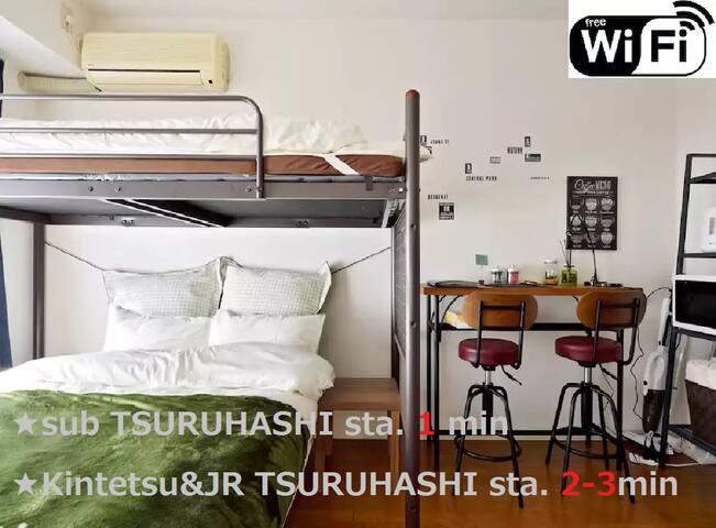 ★52★3WAY★1min TSURUHASHI Sta/Near Namba/Wifi Free