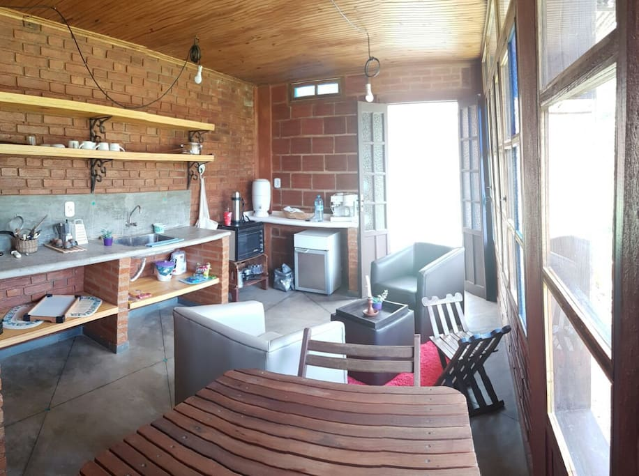 Wide angle of kitchen/living area