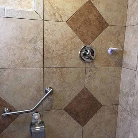 This Euro-style shower has the temperature setting on the handle.  No stall, per say, since all the walls are tiled.