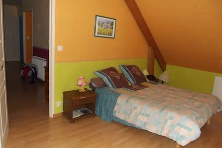 chambre avec lit double - Roézé-sur-Sarthe - 단독주택