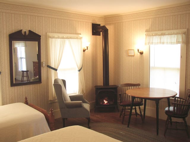 The Tapley Suite on Bass Harbor. Fireplace. K.