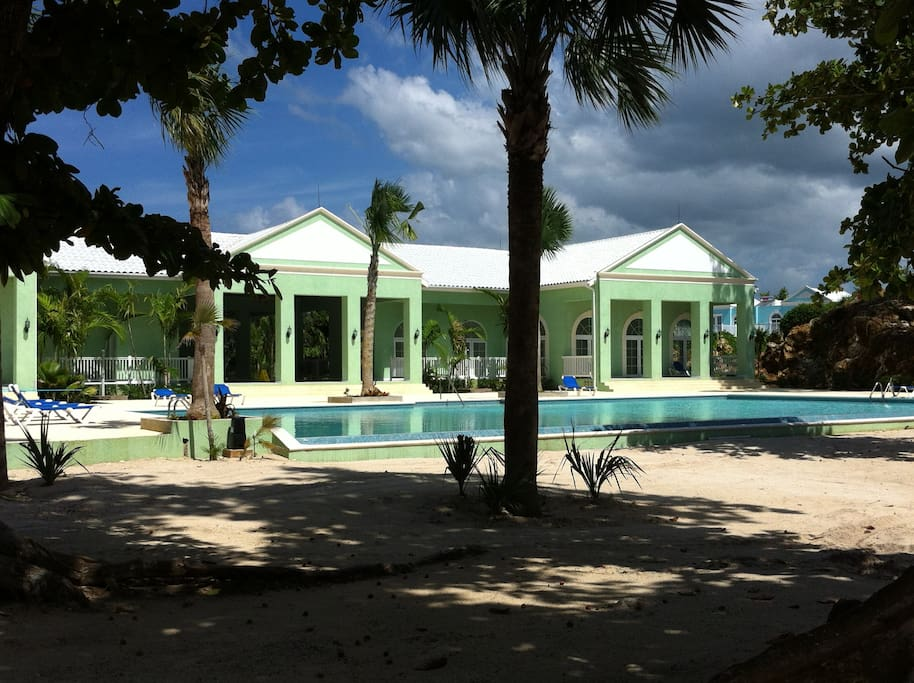 Club house/pool viewed from beach