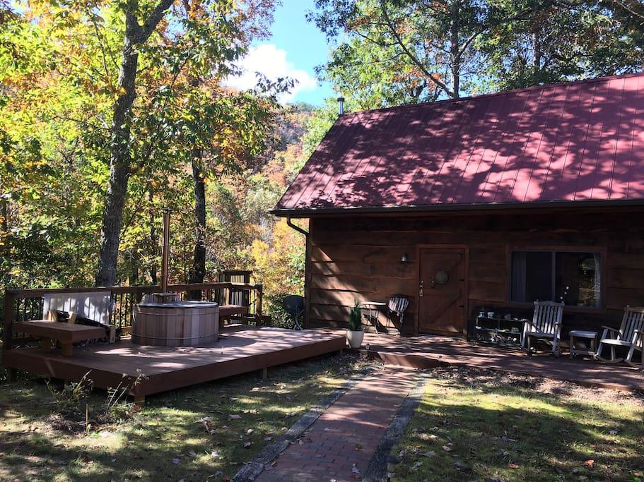 Cabin, decks, and hot tub