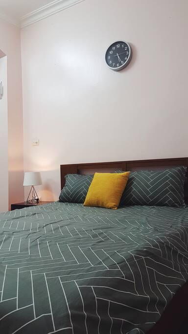 Queen bed livingroom/master bedroom