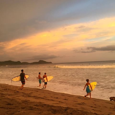 Sunset surf with the family.