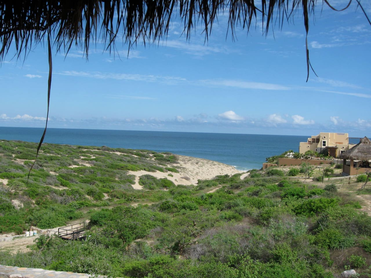 View from the casita with path to the beach and main house on the right.