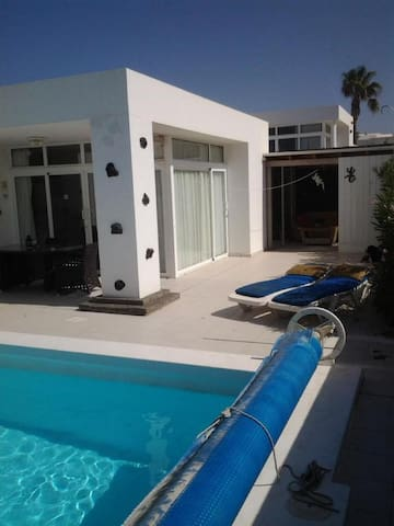 Luxery two bed villa with heated pool and hot tub.